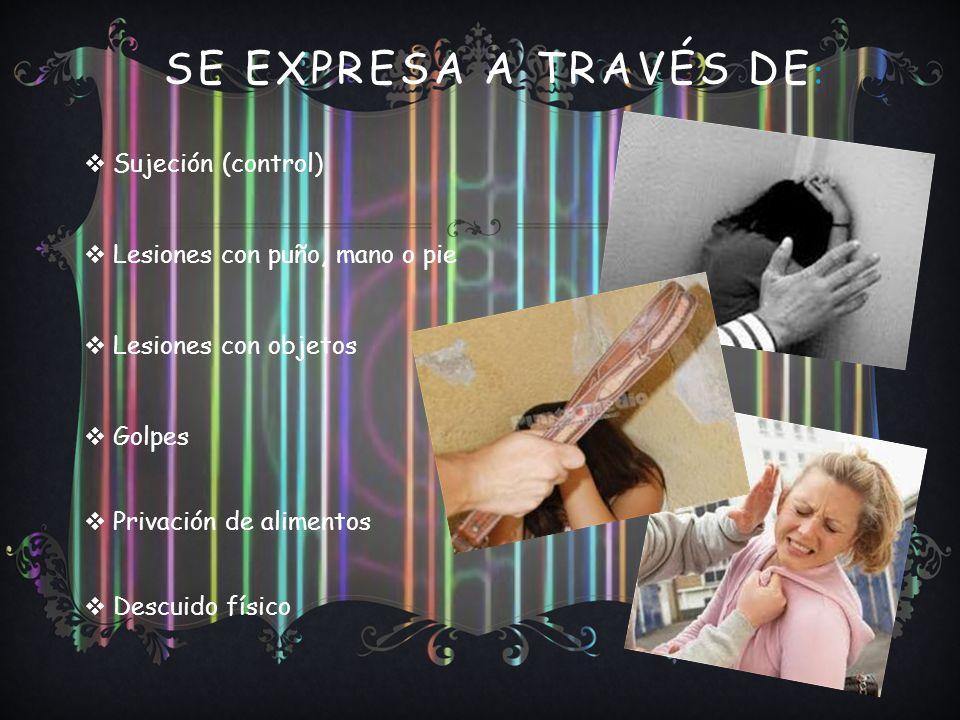 SE EXPRESA A TRAVÉS DE : Sujeción (control) Lesiones con puño, mano o pie Lesiones con objetos Golpes Privación de alimentos Descuido físico