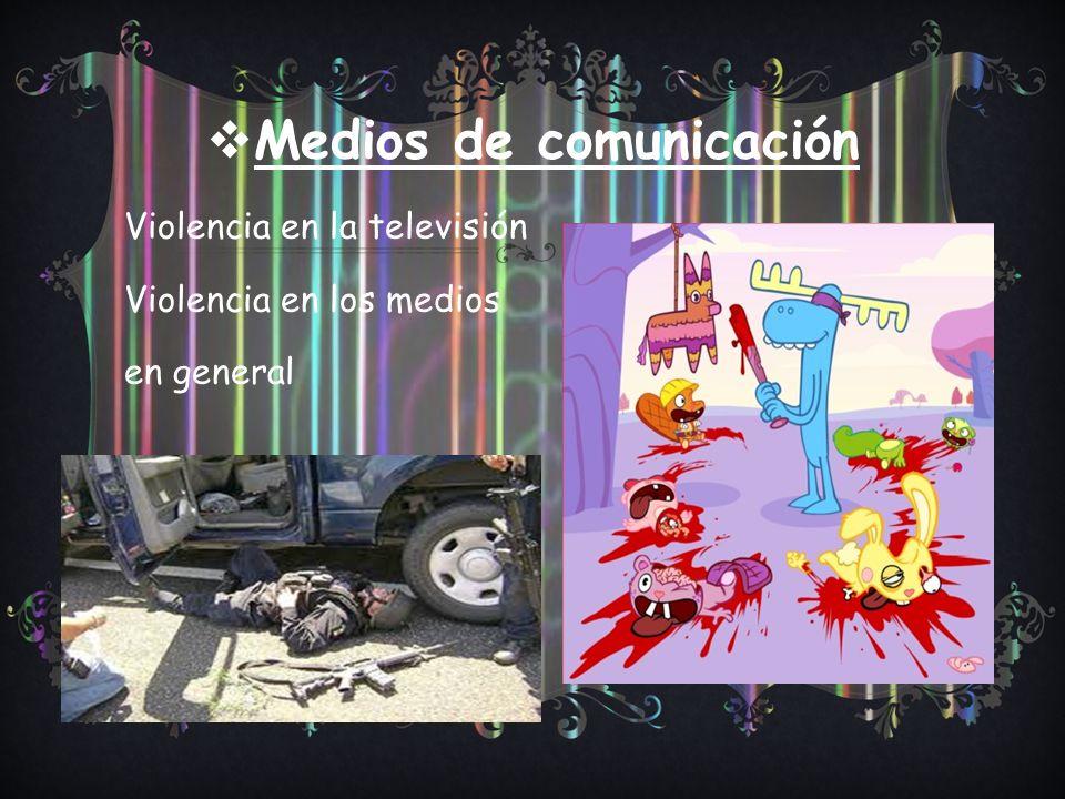 Medios de comunicación Violencia en la televisión Violencia en los medios en general