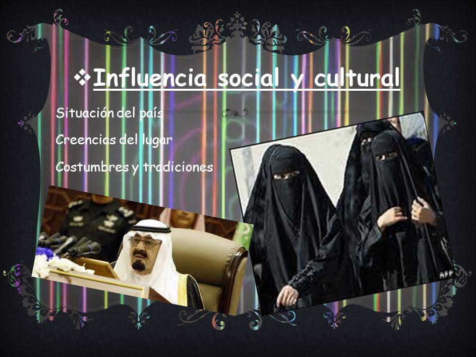 Influencia social y cultural Situación del país Creencias del lugar Costumbres y tradiciones