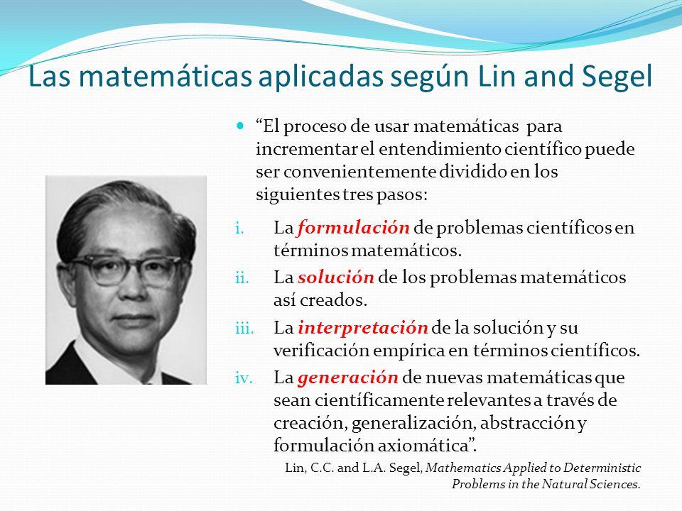 El proceso de usar matemáticas para incrementar el entendimiento científico puede ser convenientemente dividido en los siguientes tres pasos: i. La fo