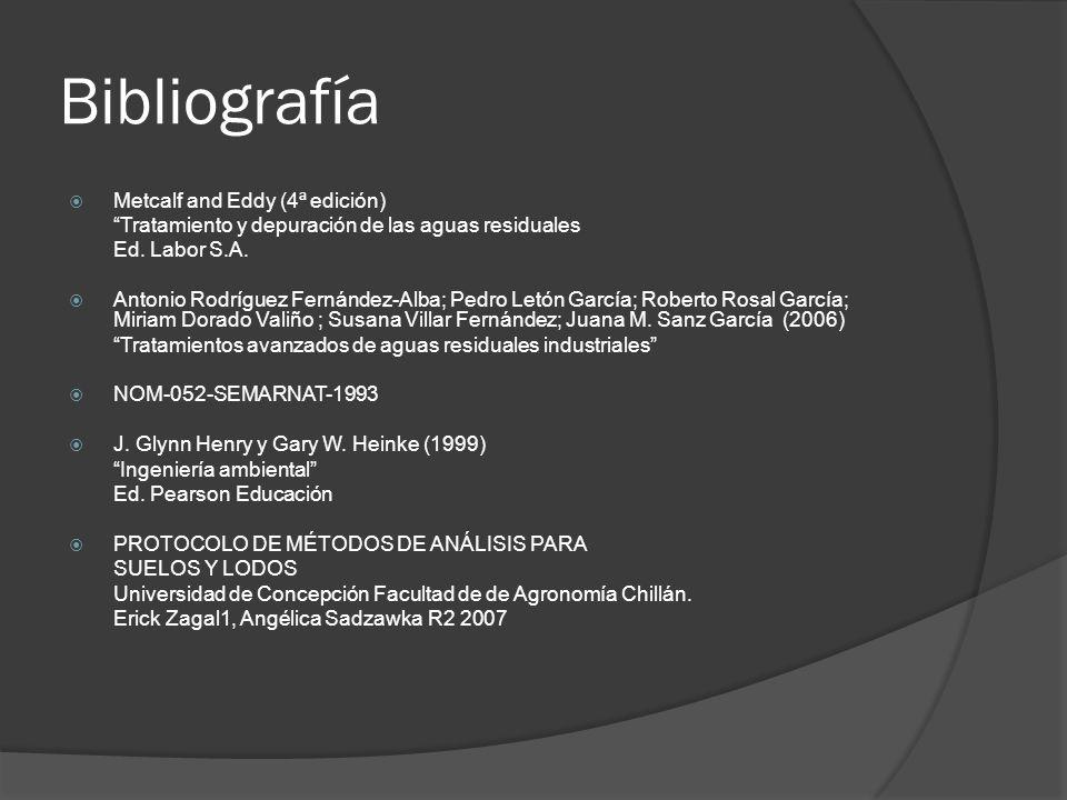 Bibliografía Metcalf and Eddy (4ª edición) Tratamiento y depuración de las aguas residuales Ed. Labor S.A. Antonio Rodríguez Fernández-Alba; Pedro Let