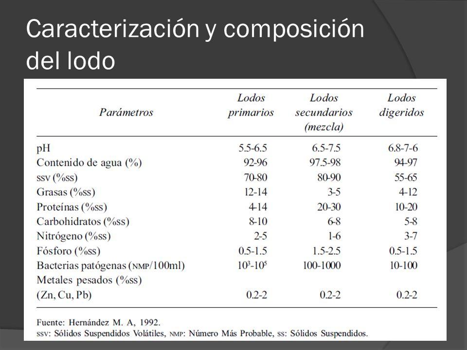 Caracterización y composición del lodo