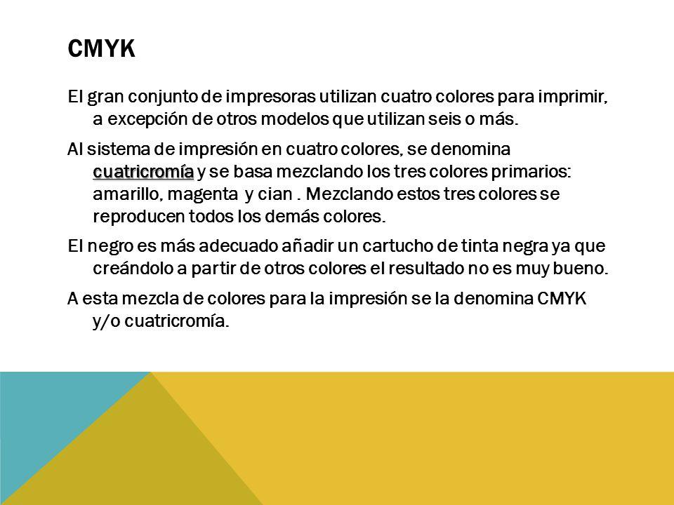 CMYK El gran conjunto de impresoras utilizan cuatro colores para imprimir, a excepción de otros modelos que utilizan seis o más.