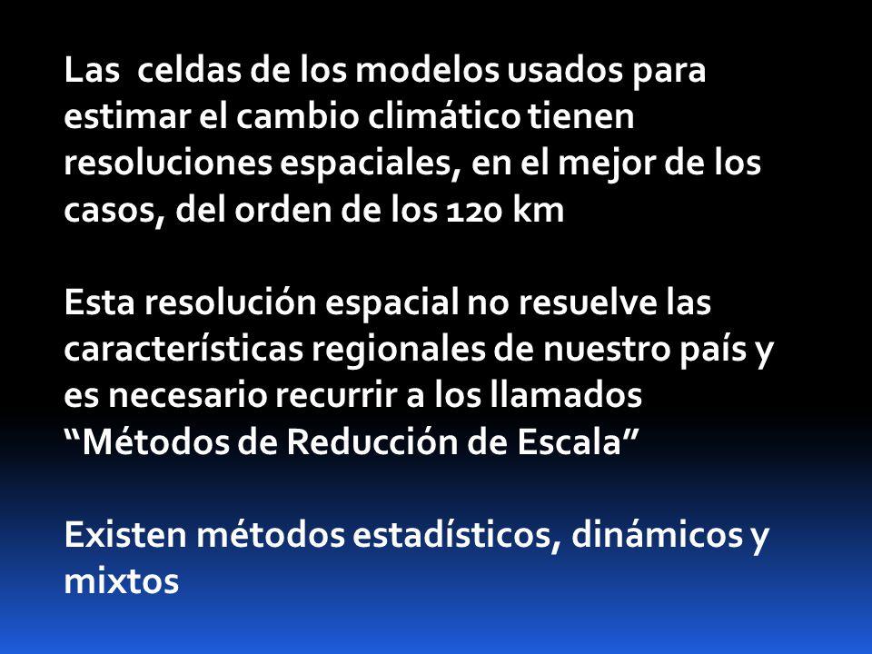 Las celdas de los modelos usados para estimar el cambio climático tienen resoluciones espaciales, en el mejor de los casos, del orden de los 120 km Esta resolución espacial no resuelve las características regionales de nuestro país y es necesario recurrir a los llamados Métodos de Reducción de Escala Existen métodos estadísticos, dinámicos y mixtos
