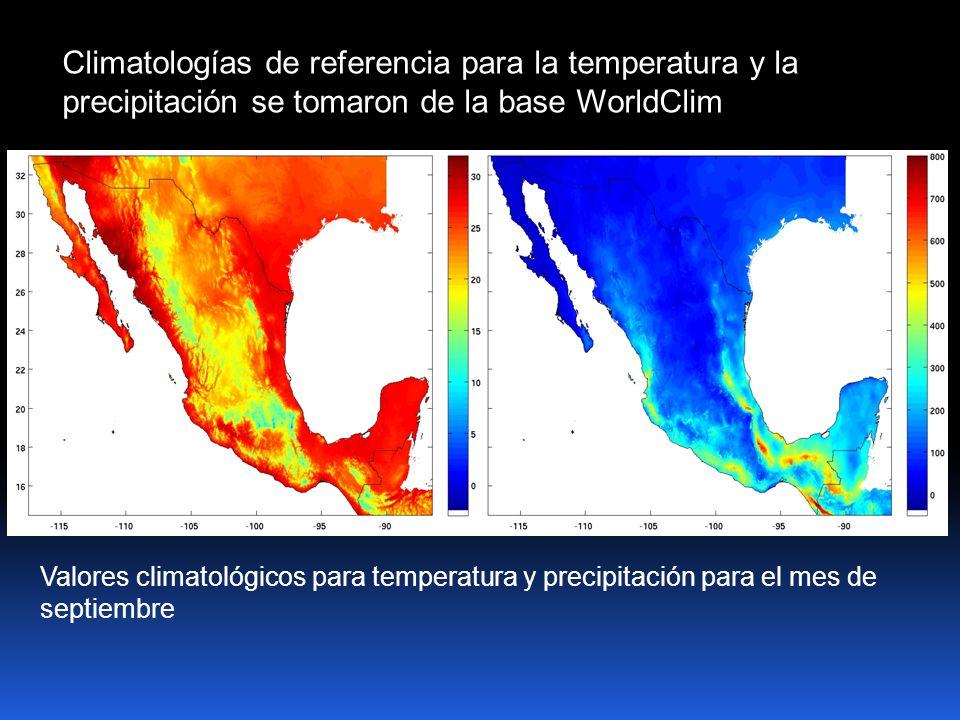 Climatologías de referencia para la temperatura y la precipitación se tomaron de la base WorldClim Valores climatológicos para temperatura y precipitación para el mes de septiembre