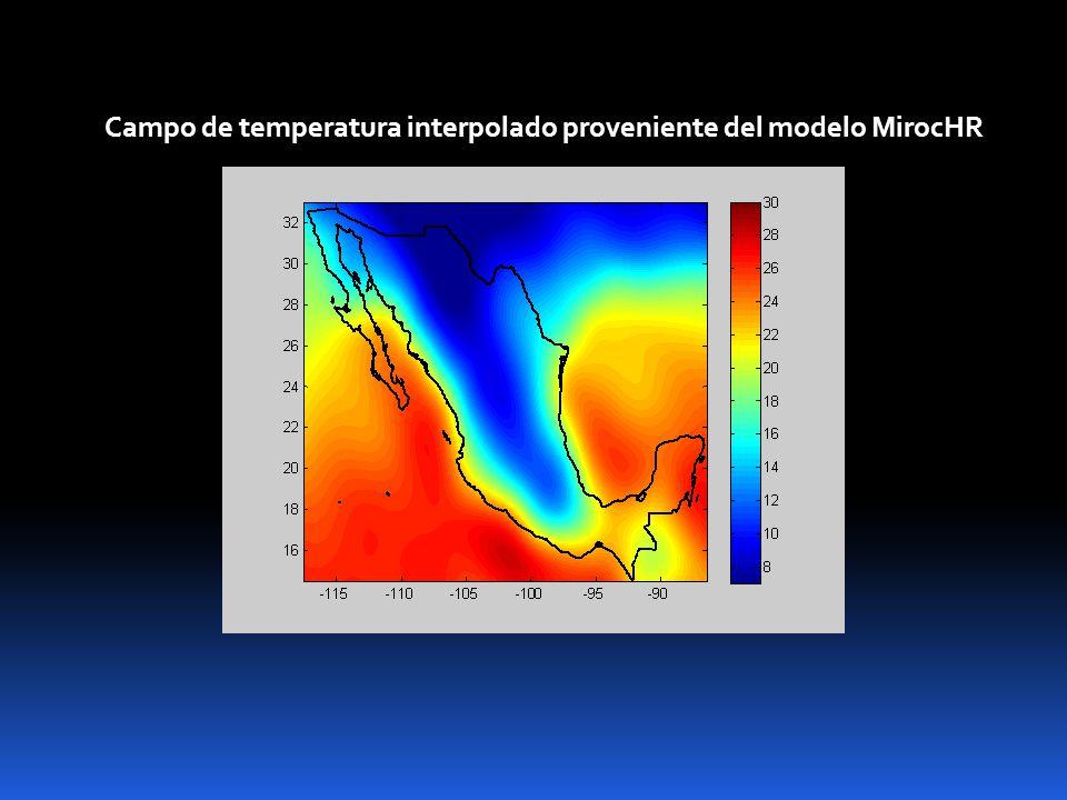 Campo de temperatura interpolado proveniente del modelo MirocHR