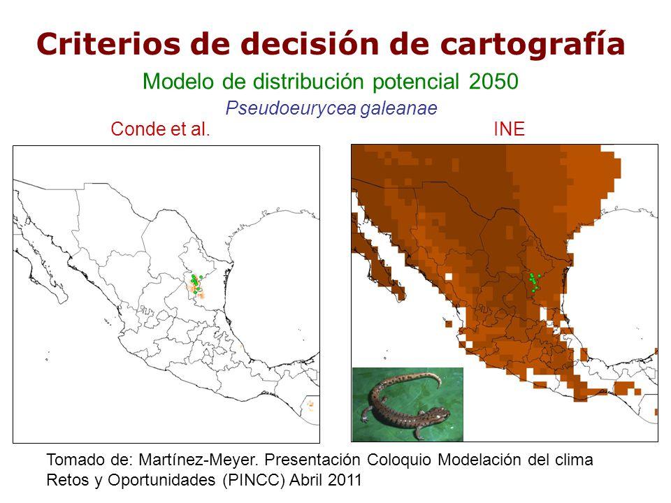 Criterios de decisión de cartografía Conde et al.INE Modelo de distribución potencial 2050 Pseudoeurycea galeanae Tomado de: Martínez-Meyer. Presentac