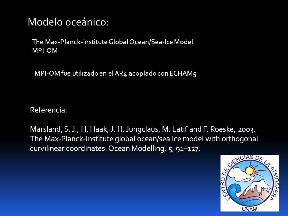 Referencia: Marsland, S.J., H. Haak, J. H. Jungclaus, M.