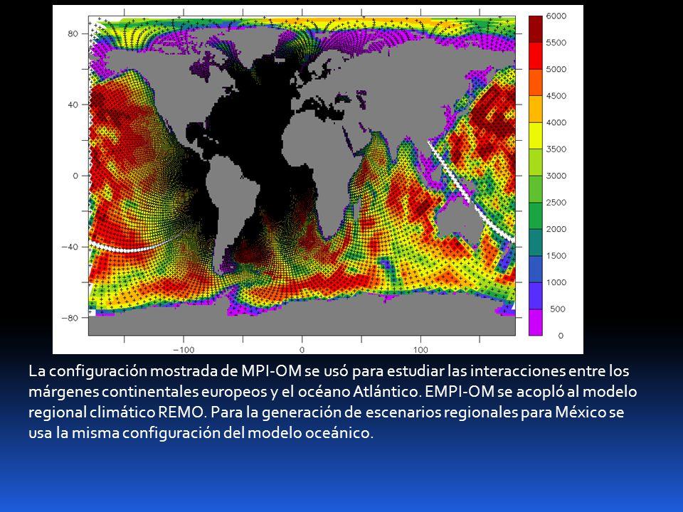 La configuración mostrada de MPI-OM se usó para estudiar las interacciones entre los márgenes continentales europeos y el océano Atlántico. EMPI-OM se