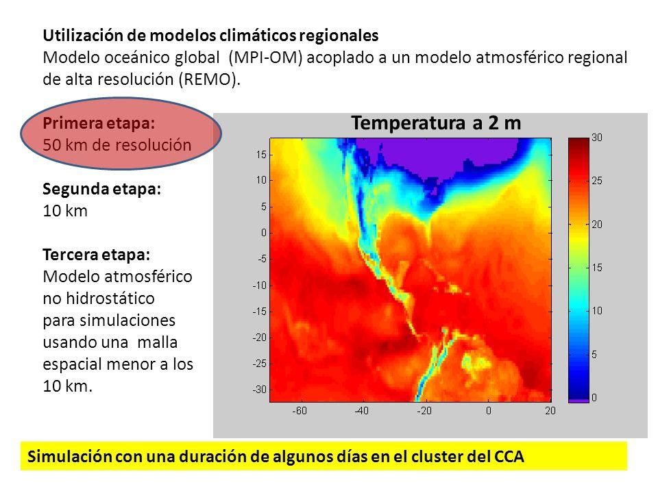 Utilización de modelos climáticos regionales Modelo oceánico global (MPI-OM) acoplado a un modelo atmosférico regional de alta resolución (REMO). Prim