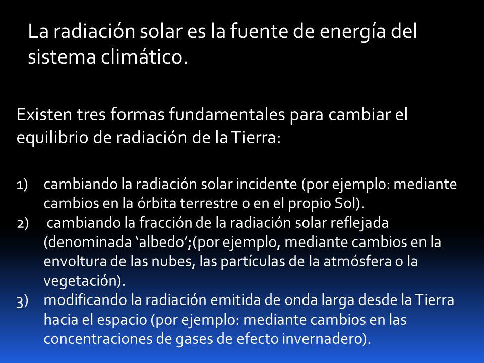 Existen tres formas fundamentales para cambiar el equilibrio de radiación de la Tierra: 1)cambiando la radiación solar incidente (por ejemplo: mediante cambios en la órbita terrestre o en el propio Sol).