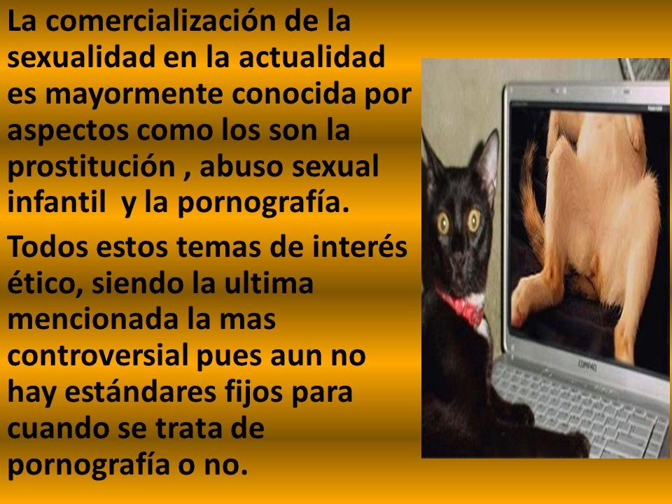 La comercialización de la sexualidad en la actualidad es mayormente conocida por aspectos como los son la prostitución, abuso sexual infantil y la por