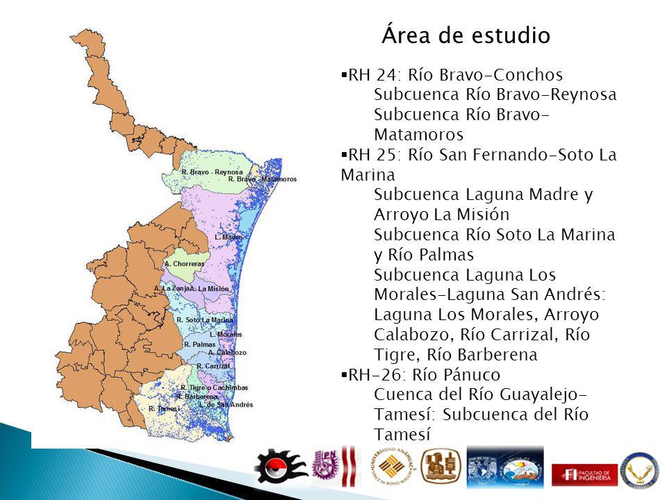 RH 24: Río Bravo-Conchos Subcuenca Río Bravo-Reynosa Subcuenca Río Bravo- Matamoros RH 25: Río San Fernando-Soto La Marina Subcuenca Laguna Madre y Ar