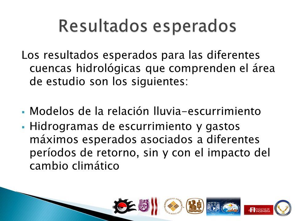 Los resultados esperados para las diferentes cuencas hidrológicas que comprenden el área de estudio son los siguientes: Modelos de la relación lluvia-