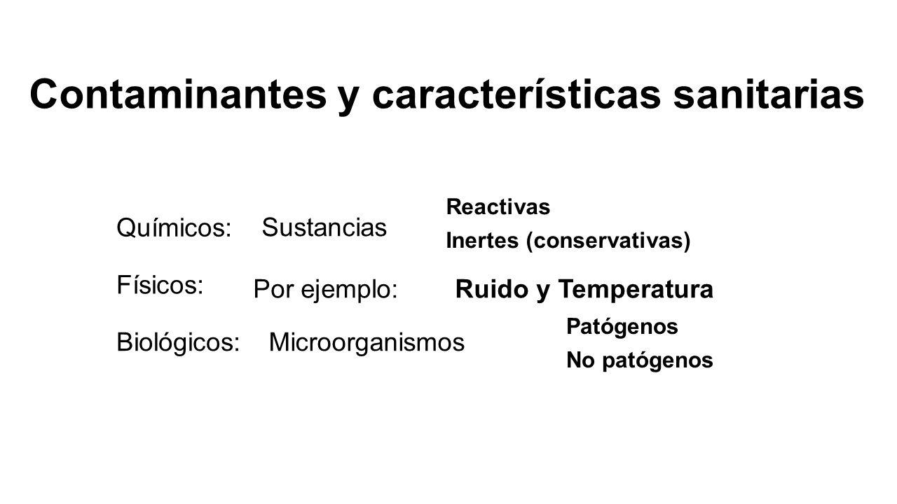 Contaminantes y características sanitarias Químicos: Físicos: Biológicos: Sustancias Reactivas Inertes (conservativas) Por ejemplo:Ruido y Temperatura
