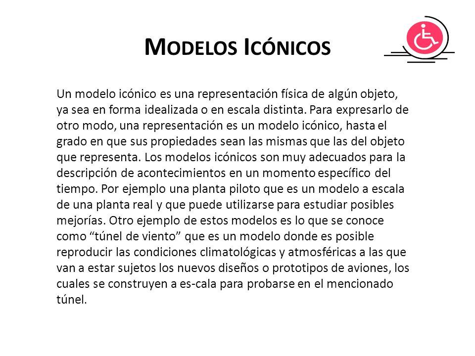 M ODELOS I CÓNICOS Un modelo icónico es una representación física de algún objeto, ya sea en forma idealizada o en escala distinta. Para expresarlo de