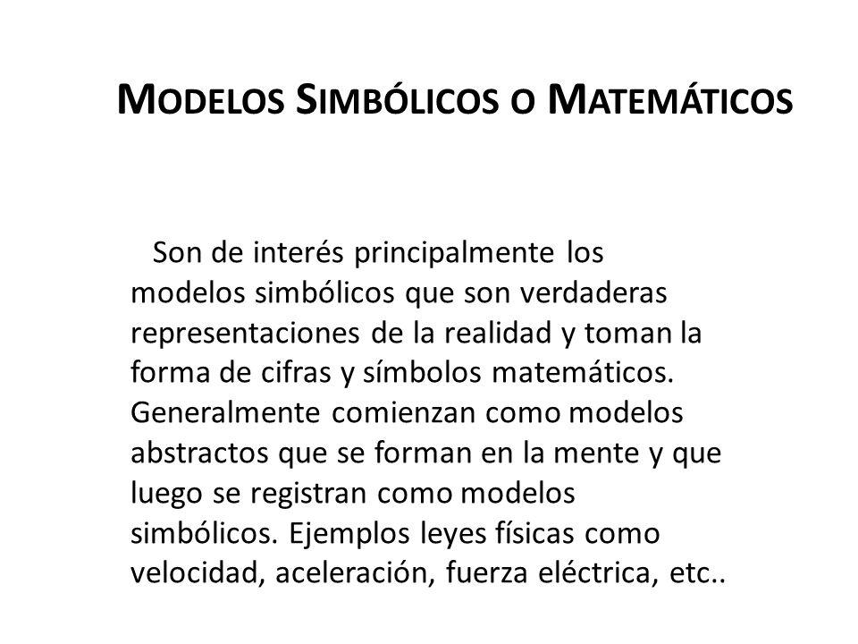 M ODELOS S IMBÓLICOS O M ATEMÁTICOS Son de interés principalmente los modelos simbólicos que son verdaderas representaciones de la realidad y toman la