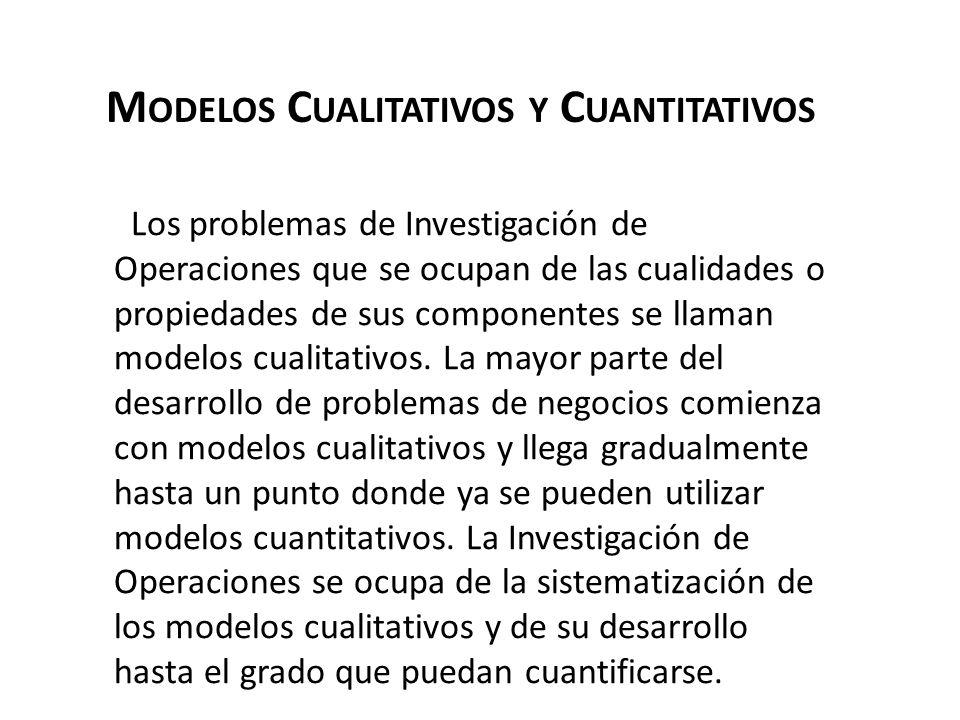 M ODELOS C UALITATIVOS Y C UANTITATIVOS Los problemas de Investigación de Operaciones que se ocupan de las cualidades o propiedades de sus componentes