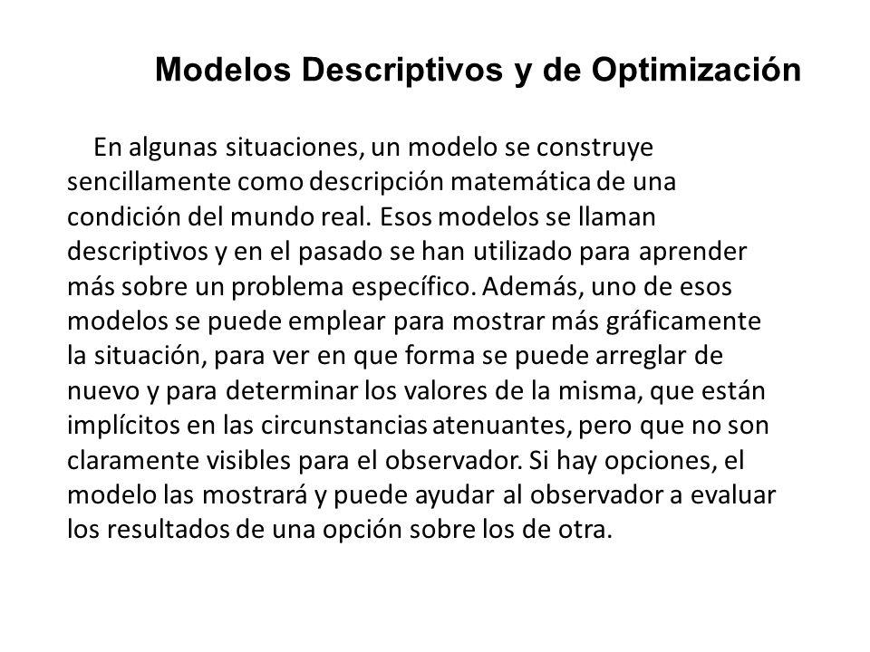 Modelos Descriptivos y de Optimización En algunas situaciones, un modelo se construye sencillamente como descripción matemática de una condición del m