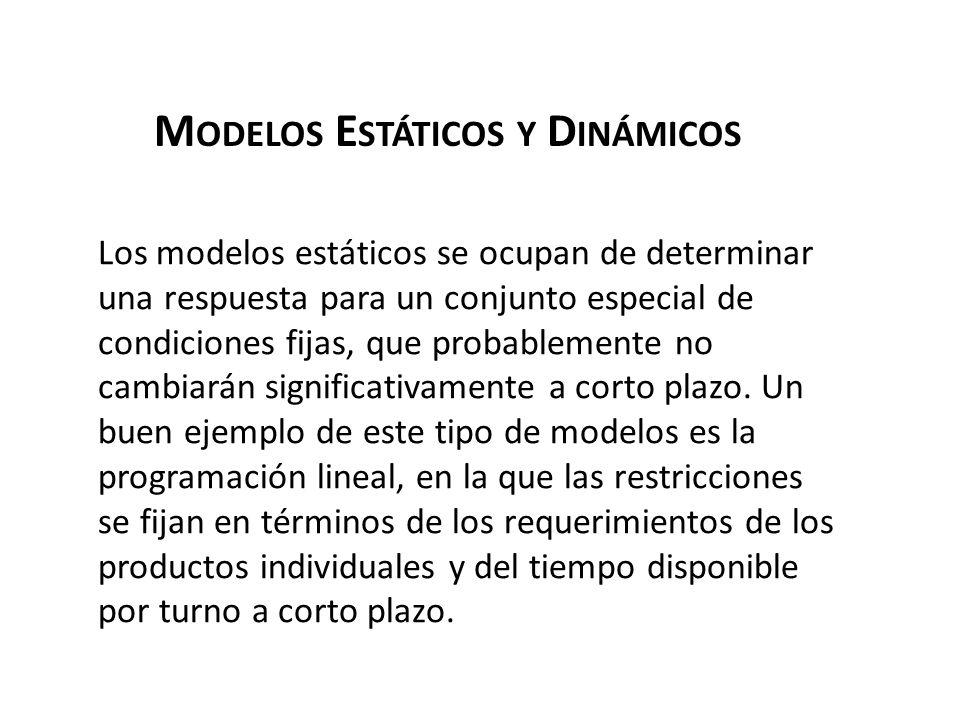 M ODELOS E STÁTICOS Y D INÁMICOS Los modelos estáticos se ocupan de determinar una respuesta para un conjunto especial de condiciones fijas, que proba