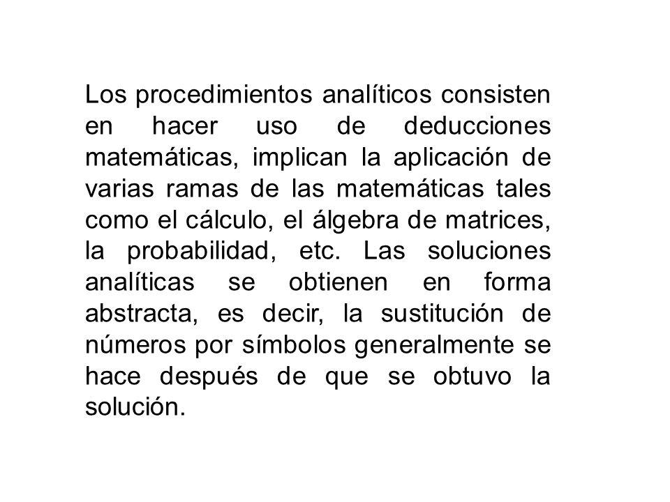 Los procedimientos analíticos consisten en hacer uso de deducciones matemáticas, implican la aplicación de varias ramas de las matemáticas tales como
