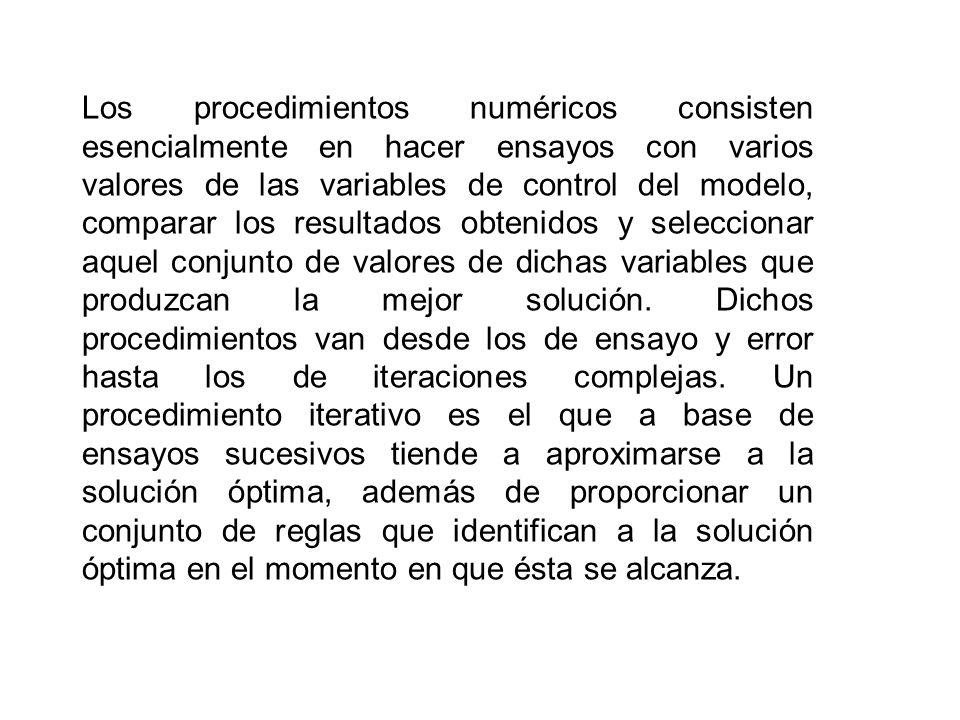 Los procedimientos numéricos consisten esencialmente en hacer ensayos con varios valores de las variables de control del modelo, comparar los resultad