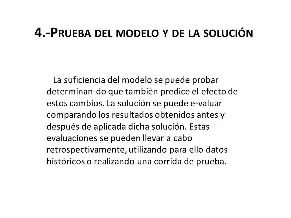 4.-P RUEBA DEL MODELO Y DE LA SOLUCIÓN La suficiencia del modelo se puede probar determinan-do que también predice el efecto de estos cambios. La solu