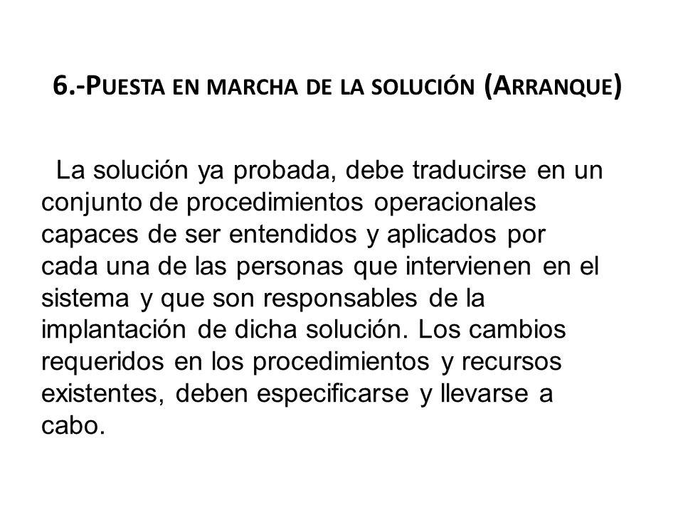 6.-P UESTA EN MARCHA DE LA SOLUCIÓN (A RRANQUE ) La solución ya probada, debe traducirse en un conjunto de procedimientos operacionales capaces de ser