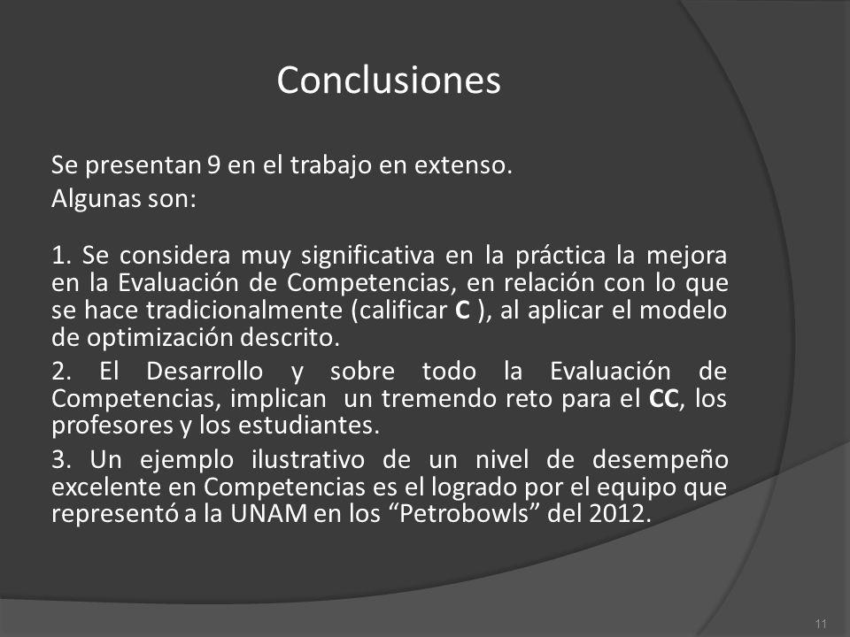 Conclusiones Se presentan 9 en el trabajo en extenso.