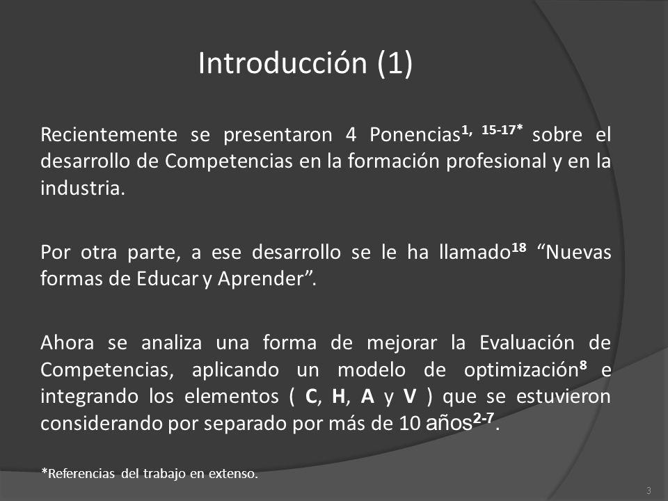 Introducción (1) Recientemente se presentaron 4 Ponencias 1, 15-17* sobre el desarrollo de Competencias en la formación profesional y en la industria.
