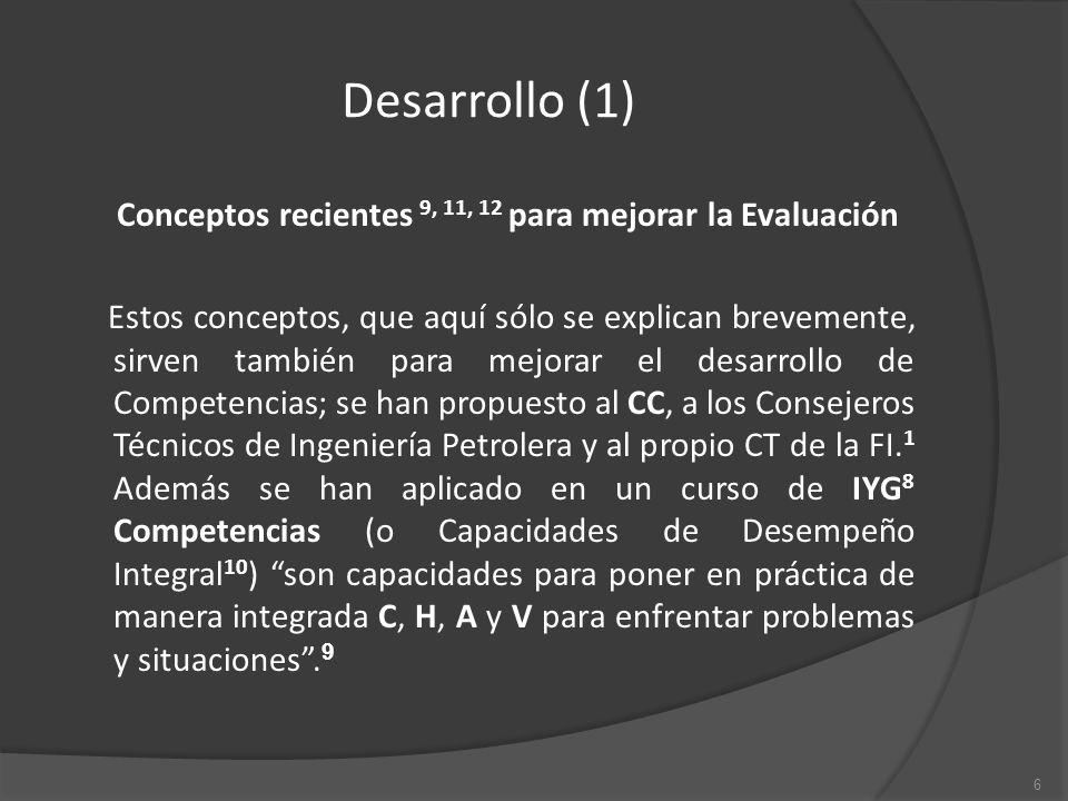 Desarrollo (1) Conceptos recientes 9, 11, 12 para mejorar la Evaluación Estos conceptos, que aquí sólo se explican brevemente, sirven también para mejorar el desarrollo de Competencias; se han propuesto al CC, a los Consejeros Técnicos de Ingeniería Petrolera y al propio CT de la FI.