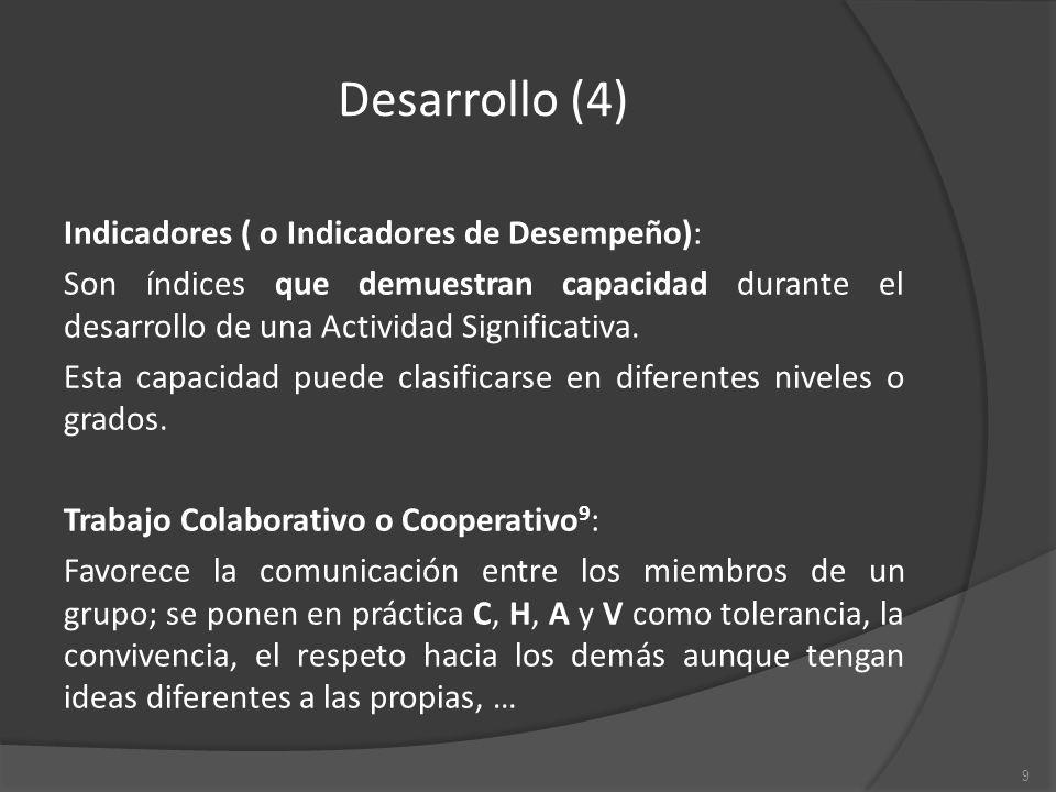 Desarrollo (4) Indicadores ( o Indicadores de Desempeño): Son índices que demuestran capacidad durante el desarrollo de una Actividad Significativa.