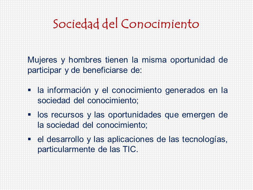 Sociedad del Conocimiento Mujeres y hombres tienen la misma oportunidad de participar y de beneficiarse de: la información y el conocimiento generados en la sociedad del conocimiento; los recursos y las oportunidades que emergen de la sociedad del conocimiento; el desarrollo y las aplicaciones de las tecnologías, particularmente de las TIC.