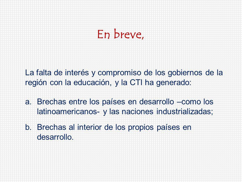 En breve, La falta de interés y compromiso de los gobiernos de la región con la educación, y la CTI ha generado: a.Brechas entre los países en desarrollo –como los latinoamericanos- y las naciones industrializadas; b.Brechas al interior de los propios países en desarrollo.