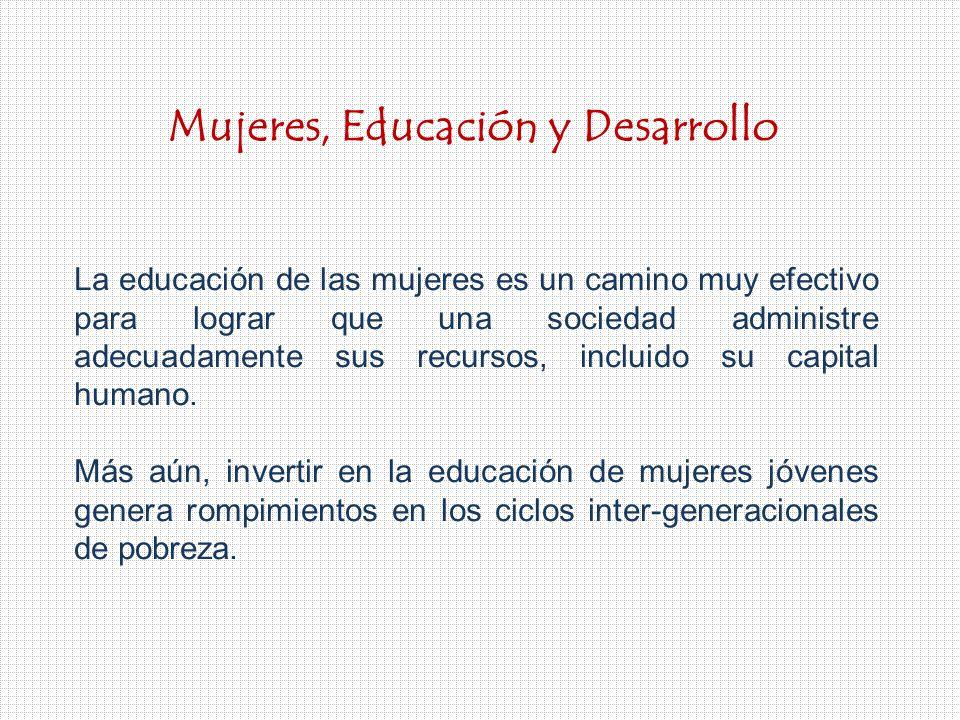 La educación de las mujeres es un camino muy efectivo para lograr que una sociedad administre adecuadamente sus recursos, incluido su capital humano.
