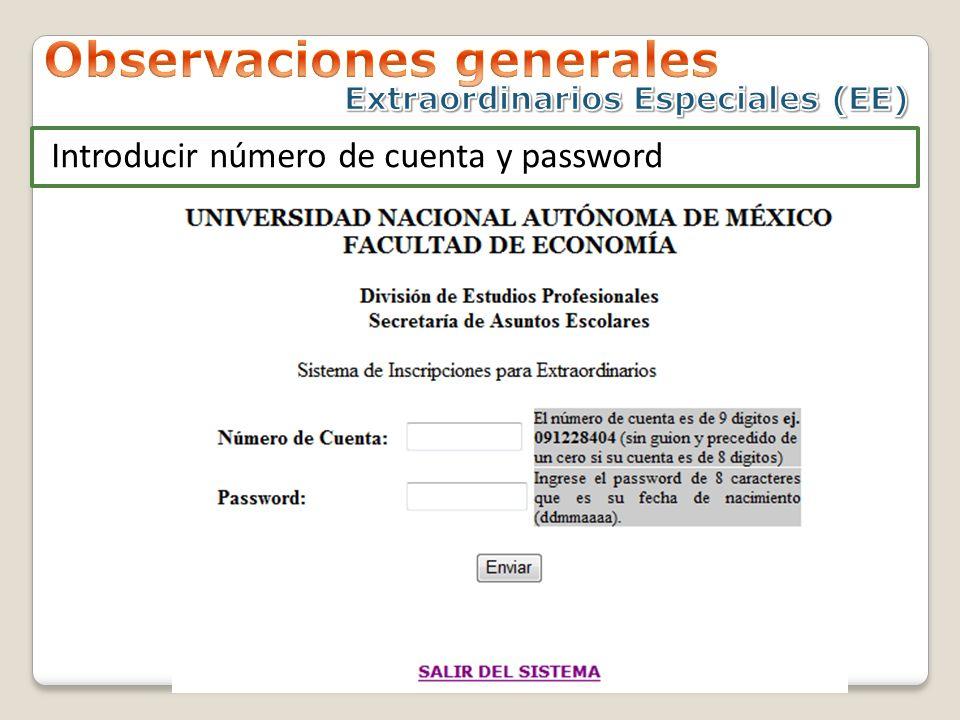 Introducir número de cuenta y password