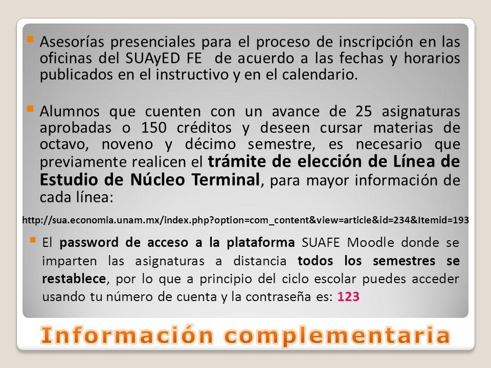 Asesorías presenciales para el proceso de inscripción en las oficinas del SUAyED FE de acuerdo a las fechas y horarios publicados en el instructivo y en el calendario.