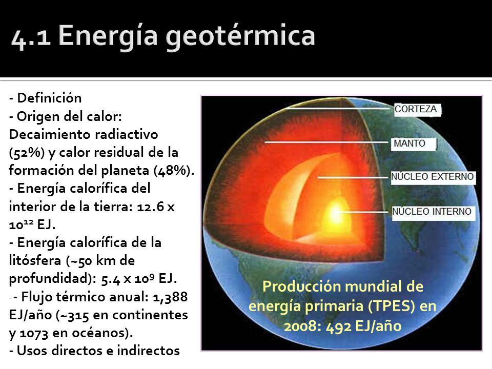 - Definición - Origen del calor: Decaimiento radiactivo (52%) y calor residual de la formación del planeta (48%). - Energía calorífica del interior de