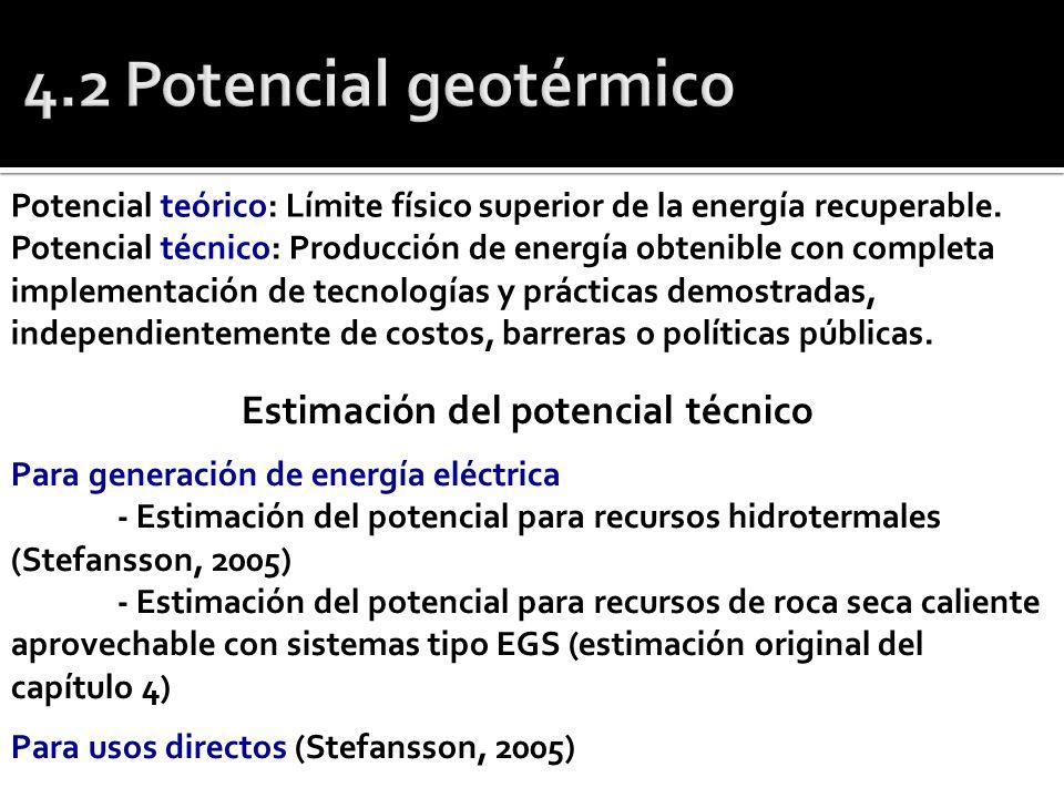 Potencial teórico: Límite físico superior de la energía recuperable. Potencial técnico: Producción de energía obtenible con completa implementación de