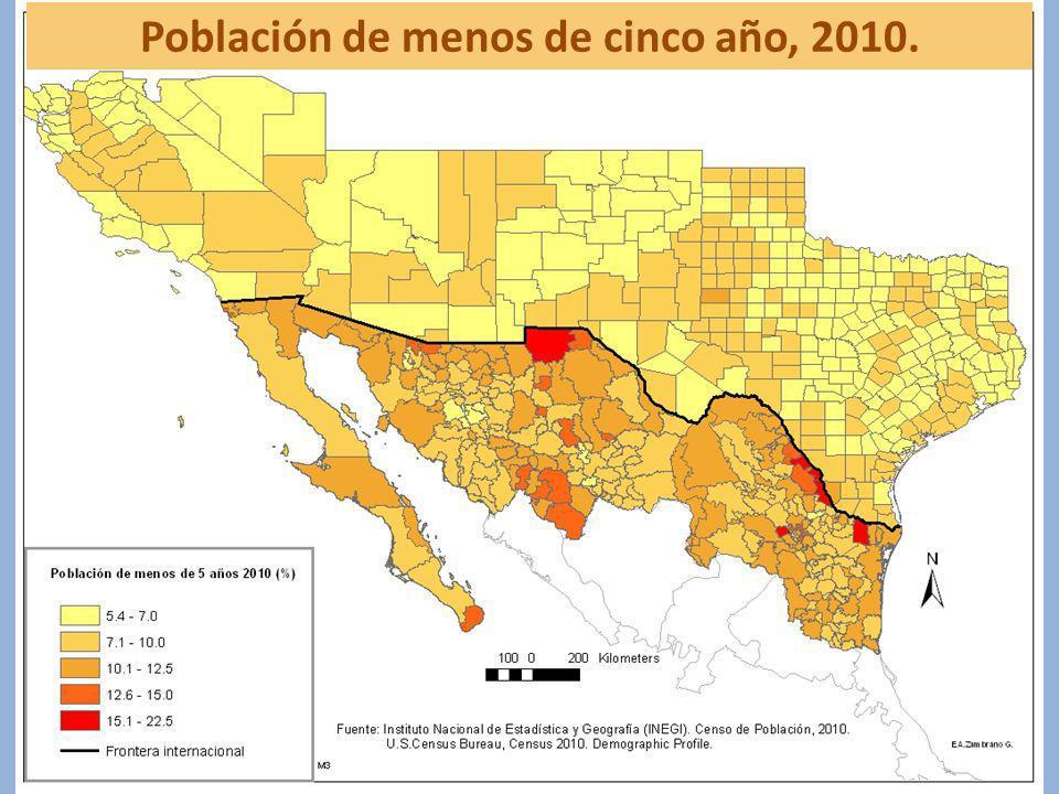Población de menos de cinco año, 2010.