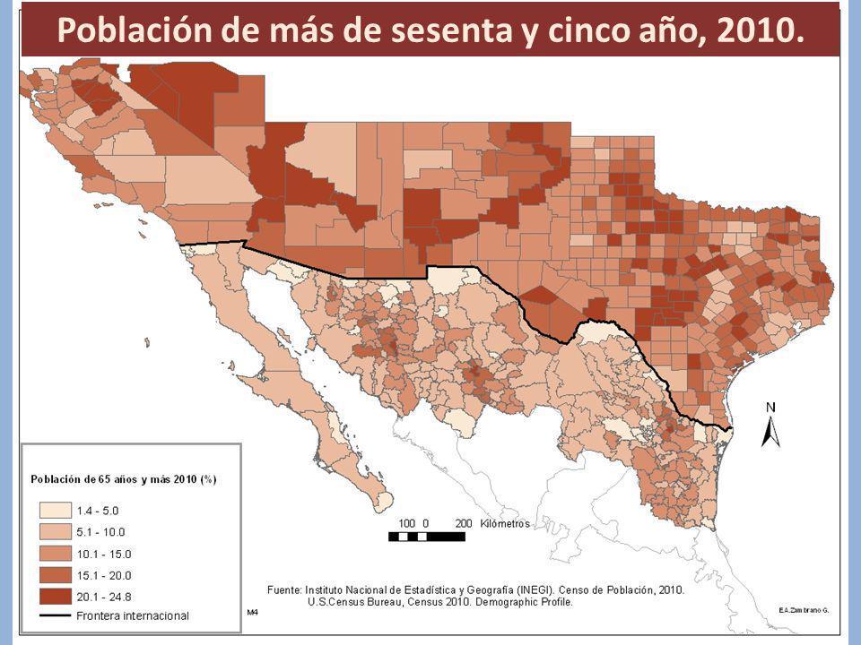 Población de más de sesenta y cinco año, 2010.