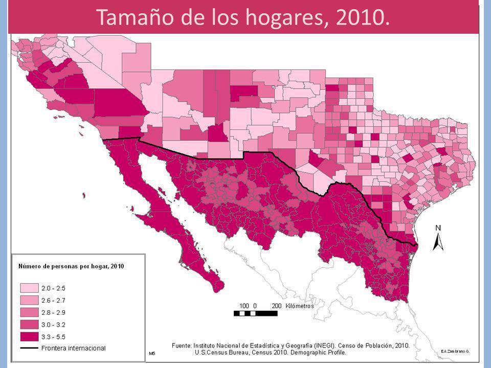 Tamaño de los hogares, 2010.