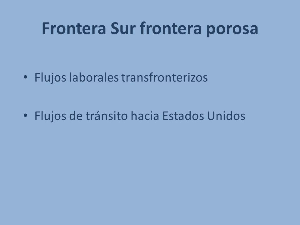 Frontera Sur frontera porosa Flujos laborales transfronterizos Flujos de tránsito hacia Estados Unidos