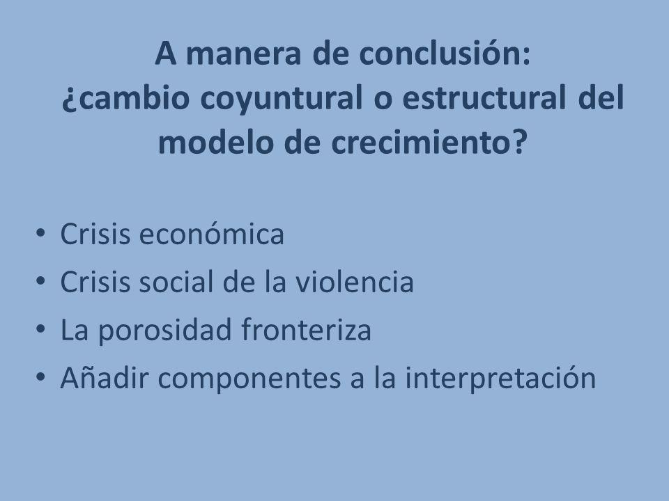 A manera de conclusión: ¿cambio coyuntural o estructural del modelo de crecimiento? Crisis económica Crisis social de la violencia La porosidad fronte