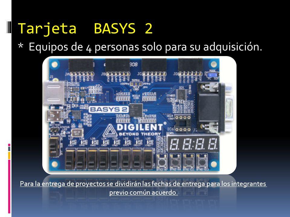 Tarjeta BASYS 2 * Equipos de 4 personas solo para su adquisición. Para la entrega de proyectos se dividirán las fechas de entrega para los integrantes