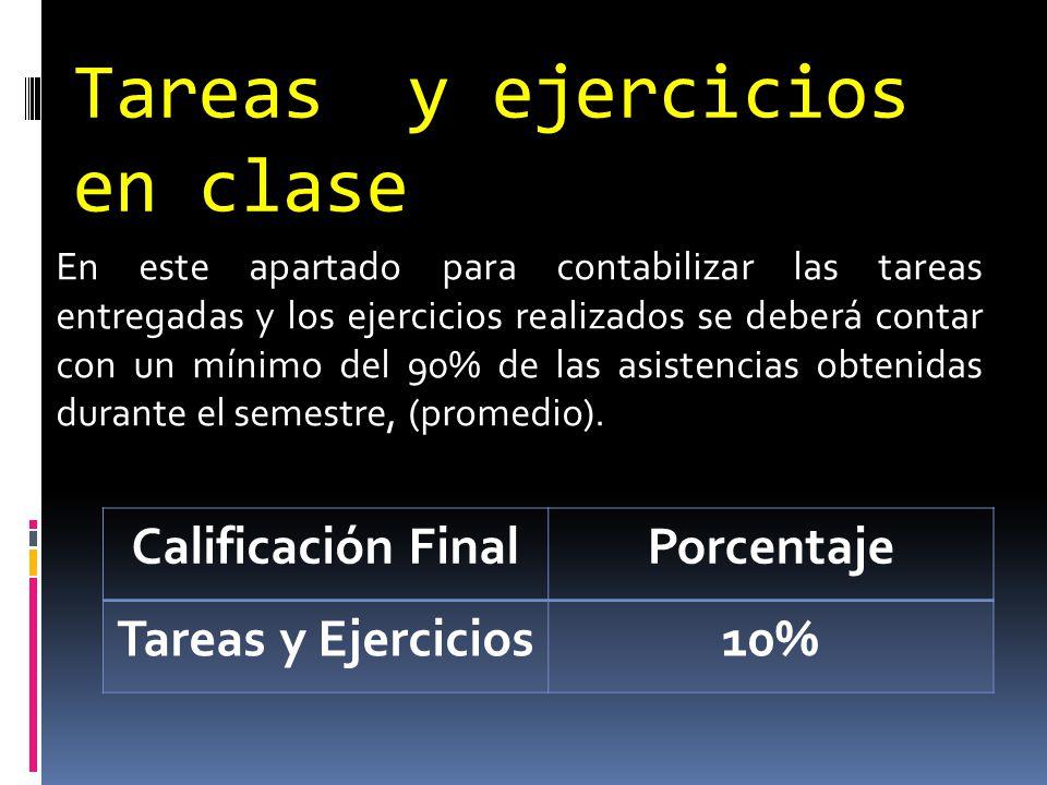 Tareas y ejercicios en clase En este apartado para contabilizar las tareas entregadas y los ejercicios realizados se deberá contar con un mínimo del 9