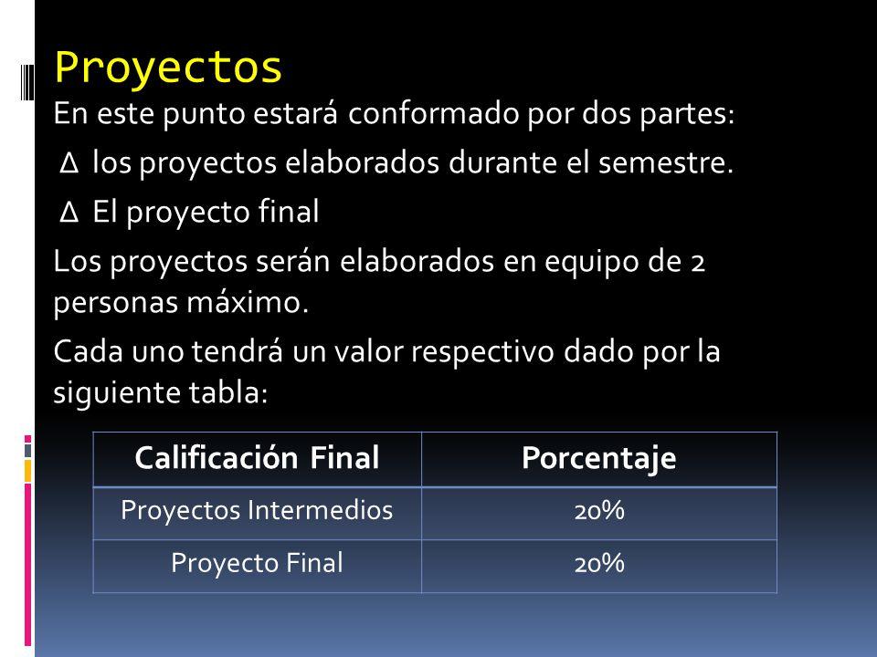 Proyectos En este punto estará conformado por dos partes: los proyectos elaborados durante el semestre. El proyecto final Los proyectos serán elaborad