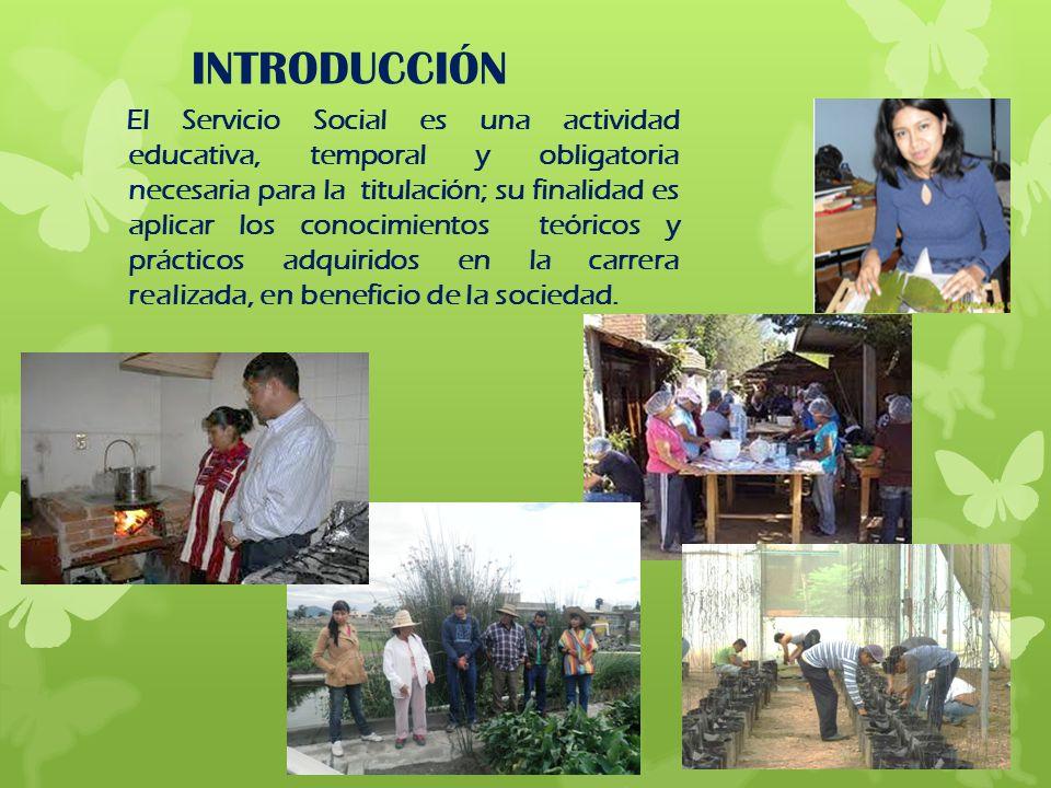 INTRODUCCIÓN El Servicio Social es una actividad educativa, temporal y obligatoria necesaria para la titulación; su finalidad es aplicar los conocimie