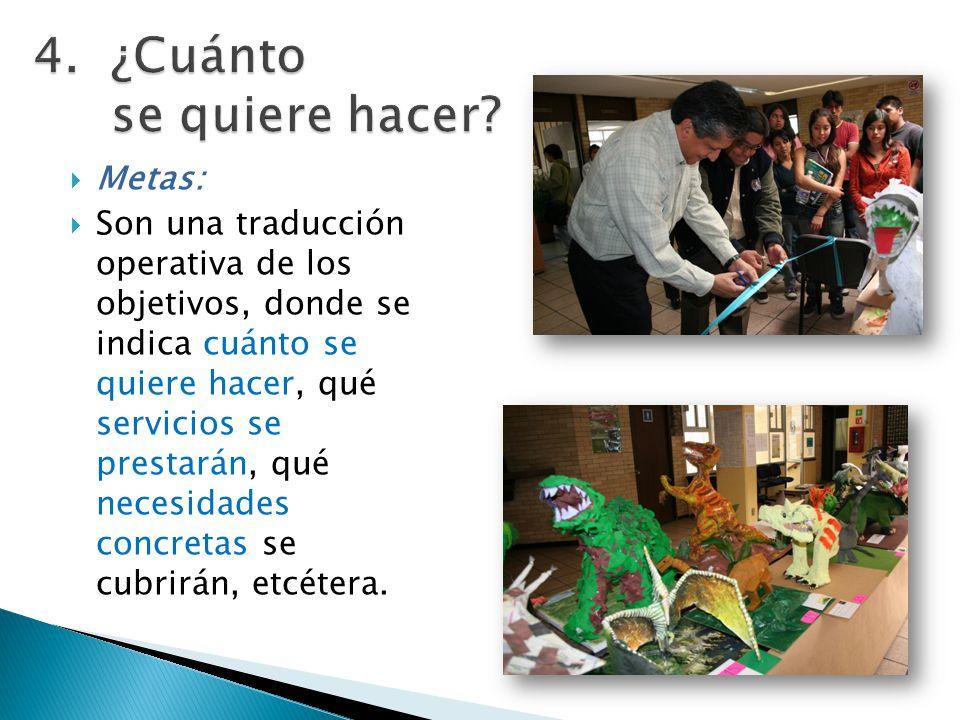 Metas: Son una traducción operativa de los objetivos, donde se indica cuánto se quiere hacer, qué servicios se prestarán, qué necesidades concretas se cubrirán, etcétera.
