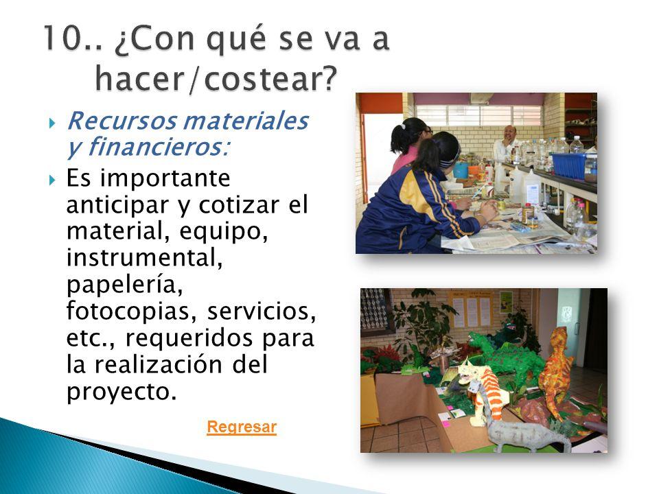 Recursos materiales y financieros: Es importante anticipar y cotizar el material, equipo, instrumental, papelería, fotocopias, servicios, etc., requeridos para la realización del proyecto.